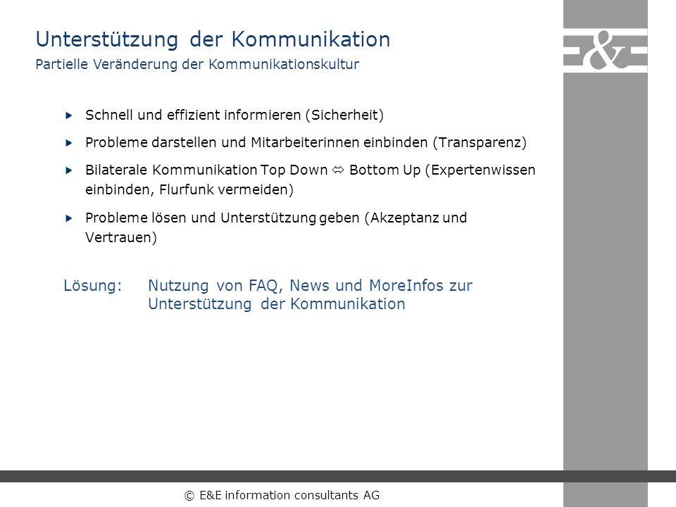 © E&E information consultants AG Schnell und effizient informieren (Sicherheit) Probleme darstellen und Mitarbeiterinnen einbinden (Transparenz) Bilat