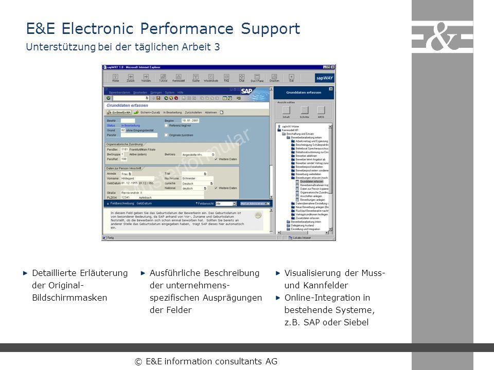 © E&E information consultants AG Detaillierte Erläuterung der Original- Bildschirmmasken Ausführliche Beschreibung der unternehmens- spezifischen Ausp