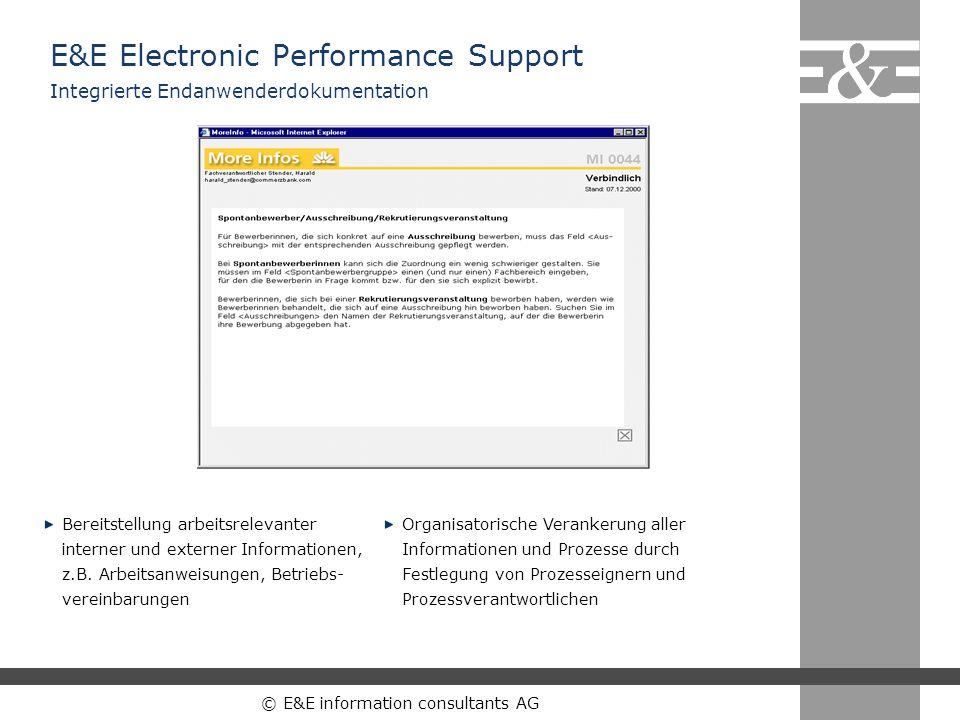 © E&E information consultants AG Bereitstellung arbeitsrelevanter interner und externer Informationen, z.B. Arbeitsanweisungen, Betriebs- vereinbarung