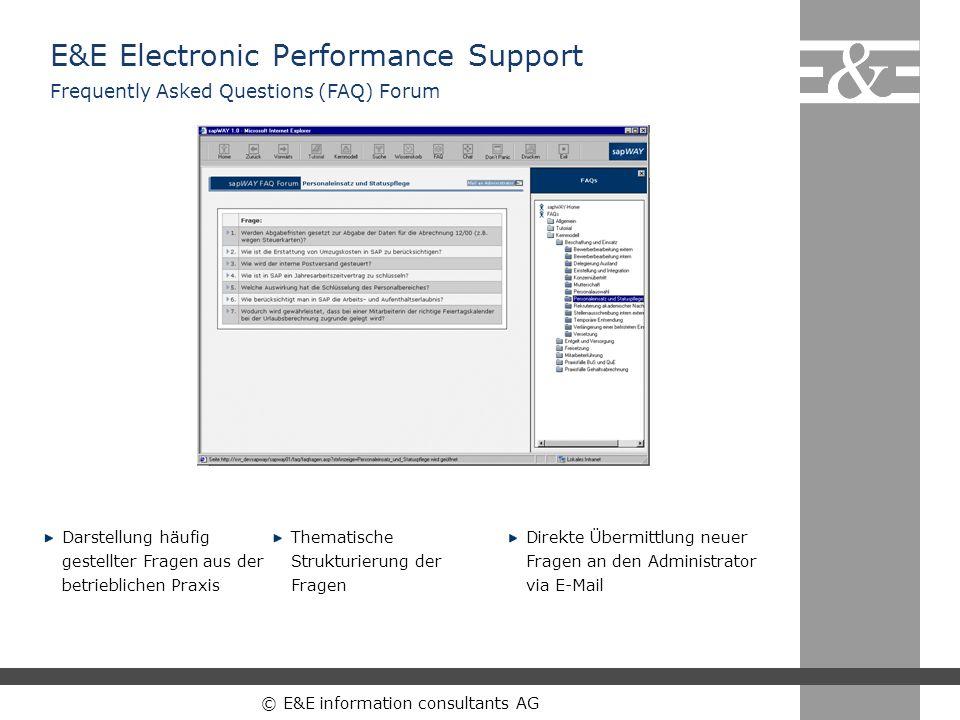 © E&E information consultants AG Darstellung häufig gestellter Fragen aus der betrieblichen Praxis Thematische Strukturierung der Fragen Direkte Überm