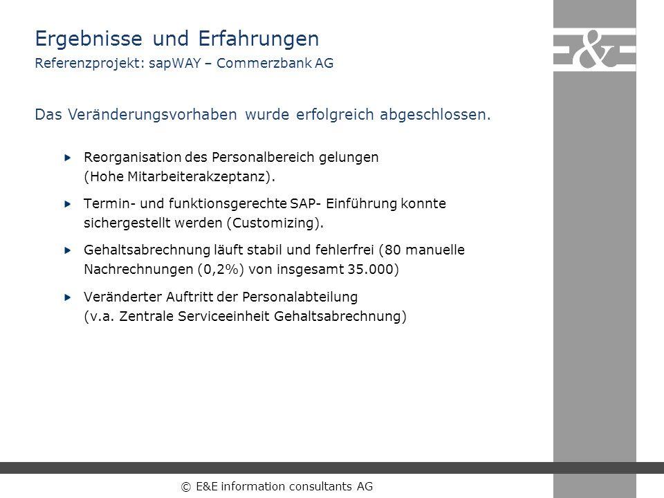 © E&E information consultants AG Ergebnisse und Erfahrungen Reorganisation des Personalbereich gelungen (Hohe Mitarbeiterakzeptanz). Termin- und funkt
