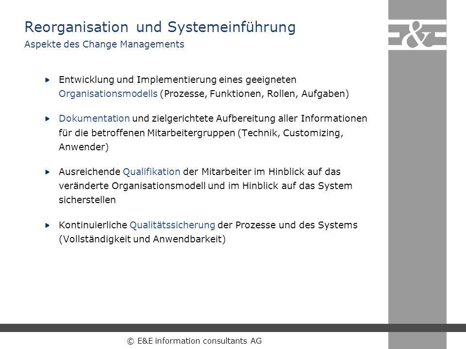 © E&E information consultants AG Entwicklung und Implementierung eines geeigneten Organisationsmodells (Prozesse, Funktionen, Rollen, Aufgaben) Dokume