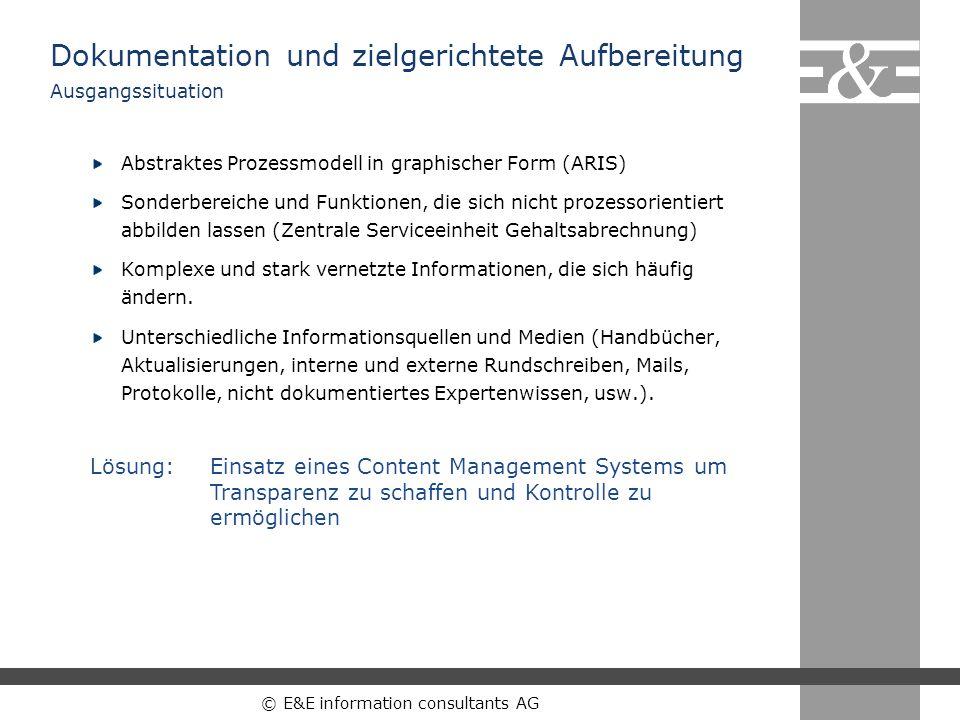 © E&E information consultants AG Ergebnisse und Erfahrungen 60 % Kosteneinsparung bei Qualifizierung mit eLearning gegenüber Präsenzschulungen, 25 % bei Berücksichtigung des Kernmodells (ContentManagement).