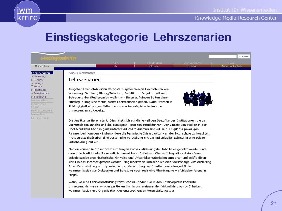 Institut für Wissensmedien Knowledge Media Research Center 21 Einstiegskategorie Lehrszenarien