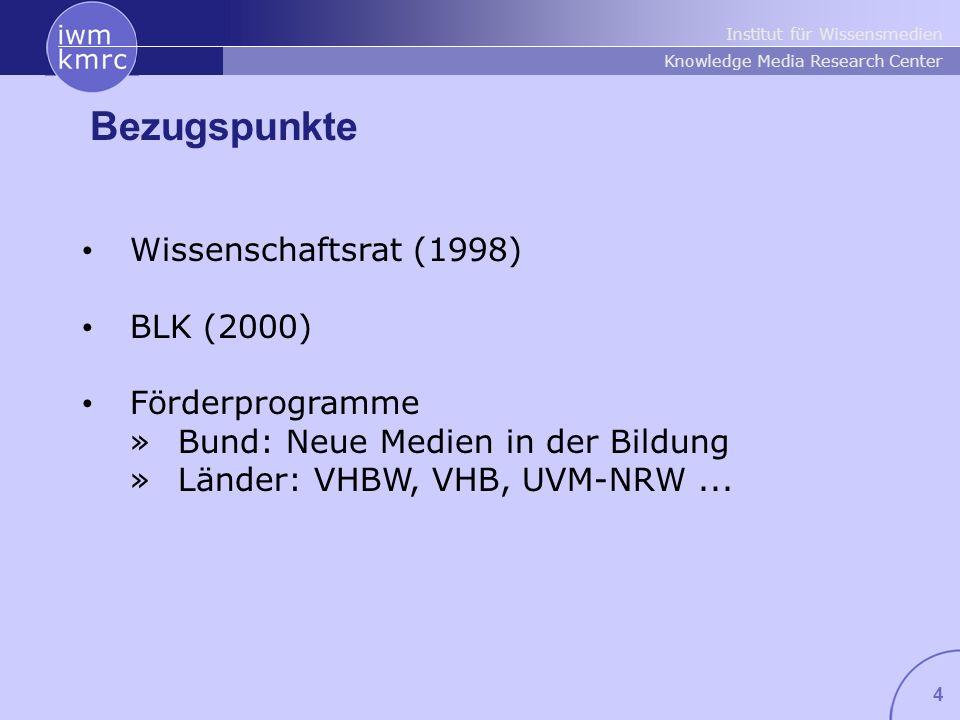 Institut für Wissensmedien Knowledge Media Research Center 4 Bezugspunkte Wissenschaftsrat (1998) BLK (2000) Förderprogramme »Bund: Neue Medien in der Bildung »Länder: VHBW, VHB, UVM-NRW...