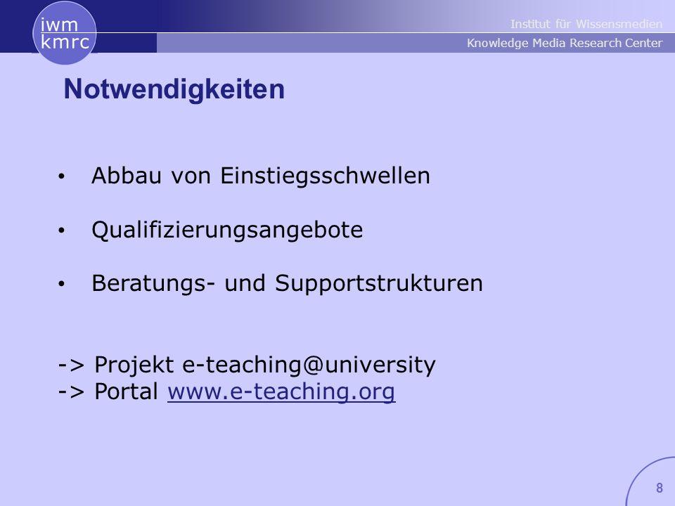 Institut für Wissensmedien Knowledge Media Research Center 8 Notwendigkeiten Abbau von Einstiegsschwellen Qualifizierungsangebote Beratungs- und Supportstrukturen -> Projekt e-teaching@university -> Portal www.e-teaching.org