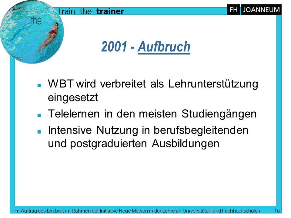 train the trainer Im Auftrag des bm:bwk im Rahmen der Initiative Neue Medien in der Lehre an Universitäten und Fachhochschulen 10 2001 - Aufbruch n WB
