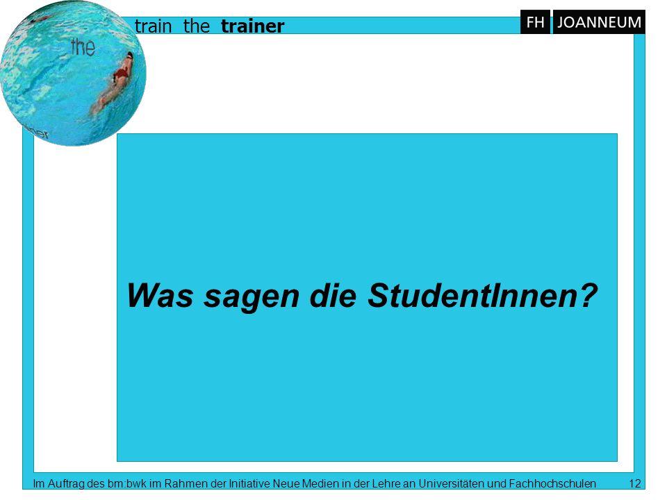 train the trainer Im Auftrag des bm:bwk im Rahmen der Initiative Neue Medien in der Lehre an Universitäten und Fachhochschulen 12 Was sagen die Studen