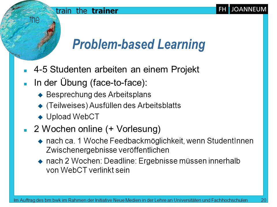 train the trainer Im Auftrag des bm:bwk im Rahmen der Initiative Neue Medien in der Lehre an Universitäten und Fachhochschulen 20 Problem-based Learni
