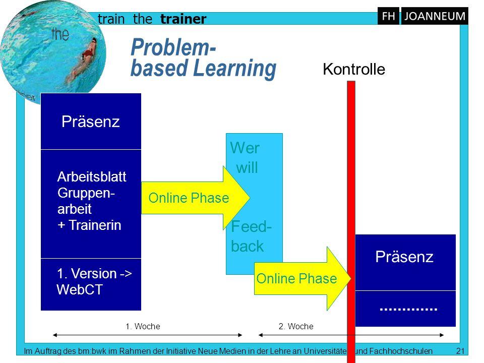 train the trainer Im Auftrag des bm:bwk im Rahmen der Initiative Neue Medien in der Lehre an Universitäten und Fachhochschulen 21 Problem- based Learn