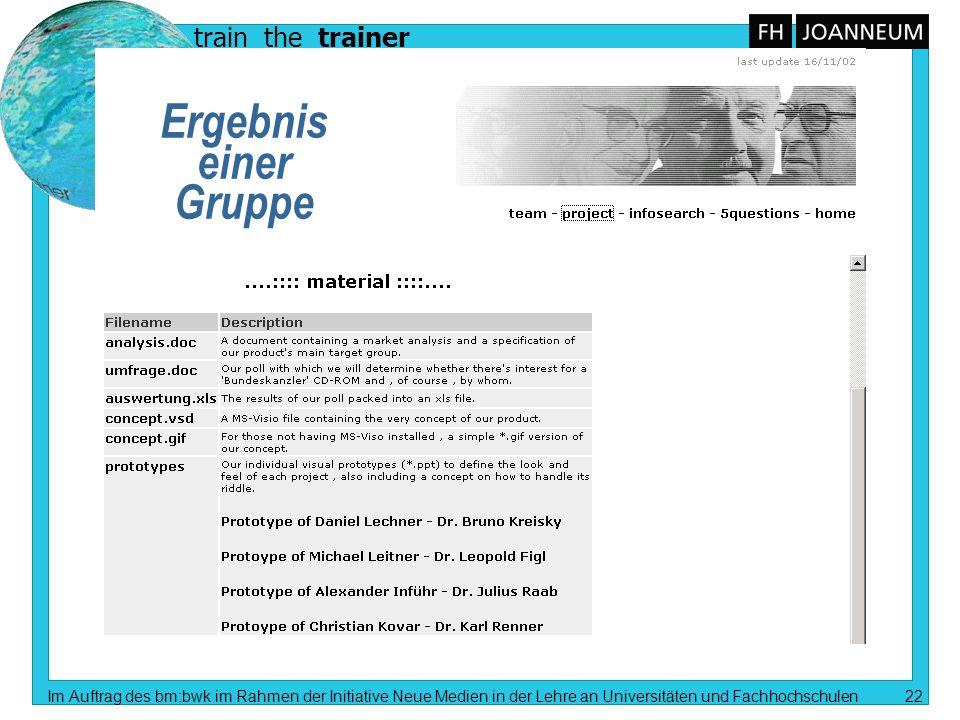 train the trainer Im Auftrag des bm:bwk im Rahmen der Initiative Neue Medien in der Lehre an Universitäten und Fachhochschulen 22 Ergebnis einer Grupp
