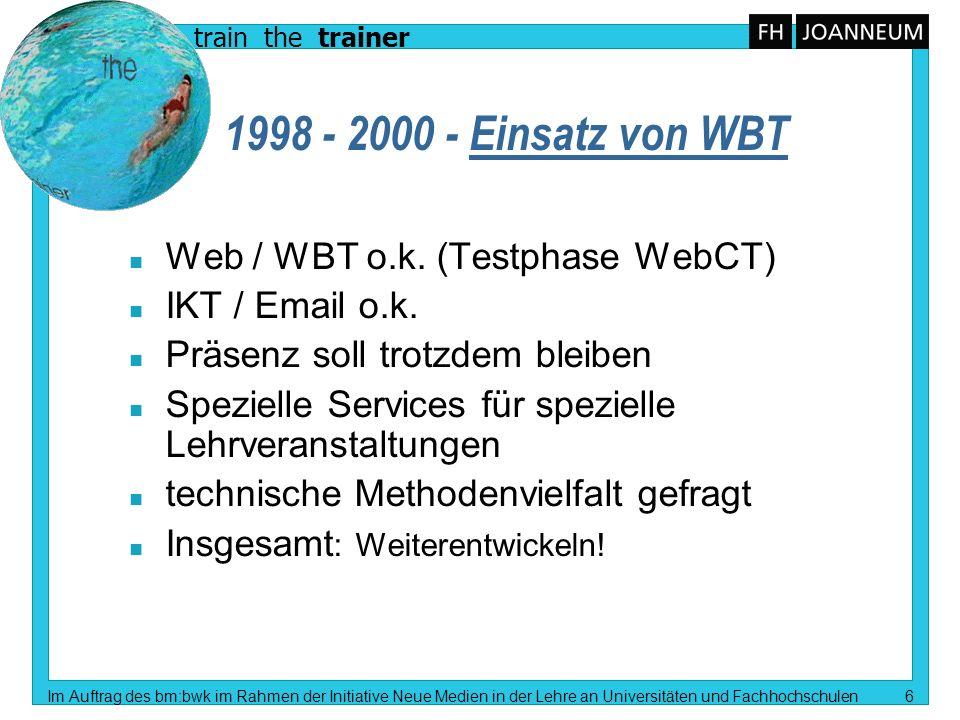 train the trainer Im Auftrag des bm:bwk im Rahmen der Initiative Neue Medien in der Lehre an Universitäten und Fachhochschulen 6 1998 - 2000 - Einsatz