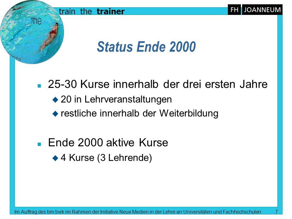 train the trainer Im Auftrag des bm:bwk im Rahmen der Initiative Neue Medien in der Lehre an Universitäten und Fachhochschulen 7 Status Ende 2000 n 25