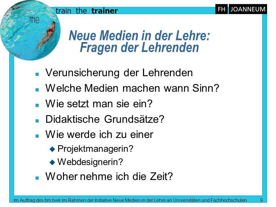 train the trainer Im Auftrag des bm:bwk im Rahmen der Initiative Neue Medien in der Lehre an Universitäten und Fachhochschulen 9 Neue Medien in der Le