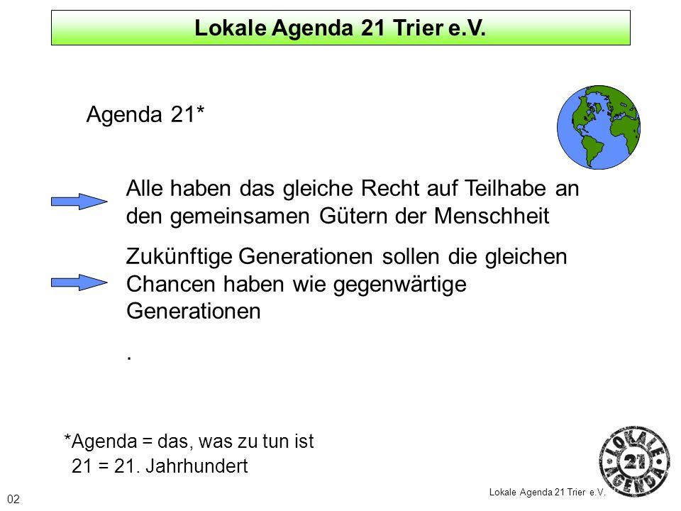 Agenda 21* Alle haben das gleiche Recht auf Teilhabe an den gemeinsamen Gütern der Menschheit Zukünftige Generationen sollen die gleichen Chancen habe