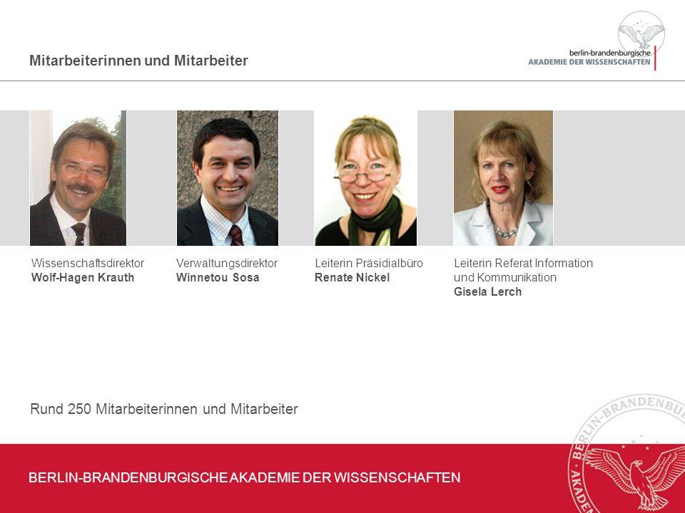 Mitarbeiterinnen und Mitarbeiter Wissenschaftsdirektor Wolf-Hagen Krauth Verwaltungsdirektor Winnetou Sosa Leiterin Präsidialbüro Renate Nickel Leiter
