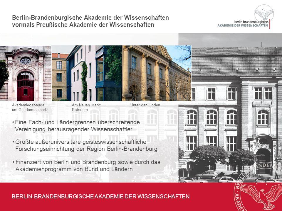 300 Jahre im Dienst der Wissenschaft BERLIN-BRANDENBURGISCHE AKADEMIE DER WISSENSCHAFTEN 1700 von Leibniz begründet Gelangte als Preußische Akademie der Wissenschaften weltweit zu Ruhm und Ansehen Zu ihren Mitgliedern gehörten u.