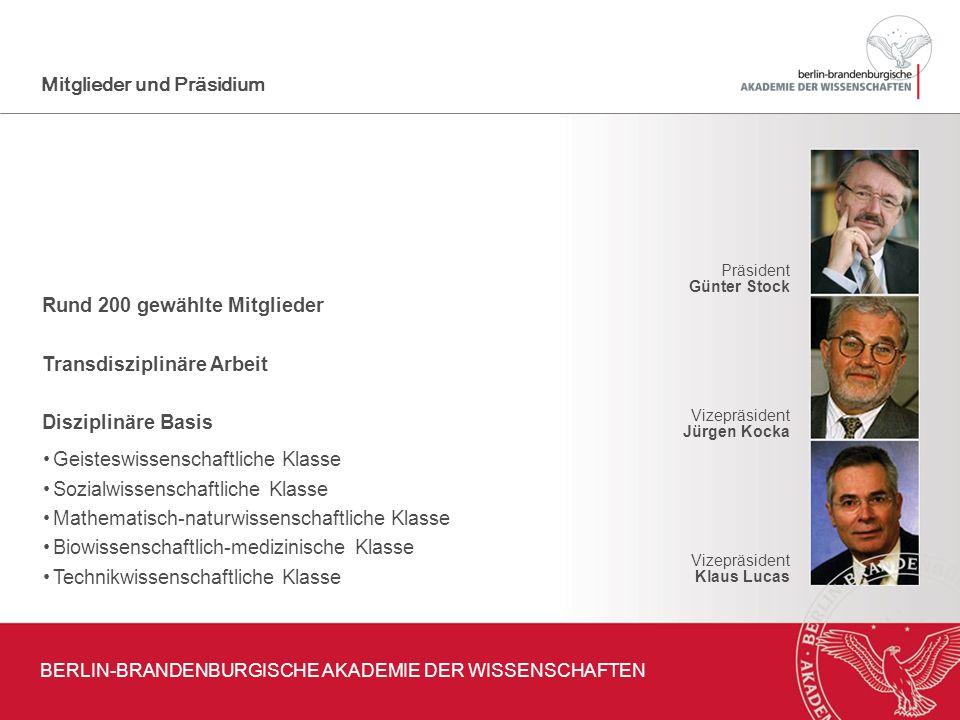 Rund 200 gewählte Mitglieder Transdisziplinäre Arbeit Disziplinäre Basis Präsident Günter Stock Vizepräsident Jürgen Kocka Vizepräsident Klaus Lucas M