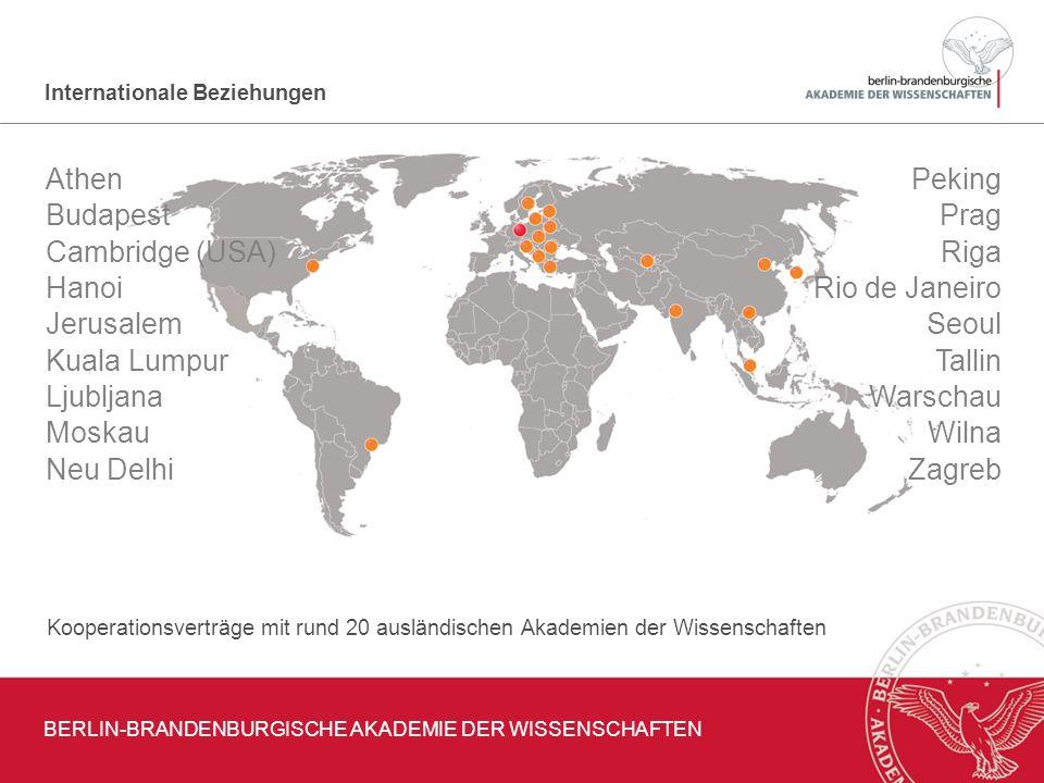 Internationale Beziehungen Kooperationsverträge mit rund 20 ausländischen Akademien der Wissenschaften Athen Budapest Cambridge (USA) Hanoi Jerusalem