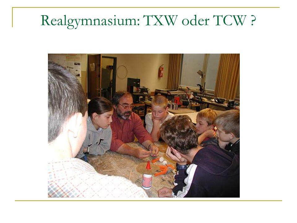 Realgymnasium: TXW oder TCW
