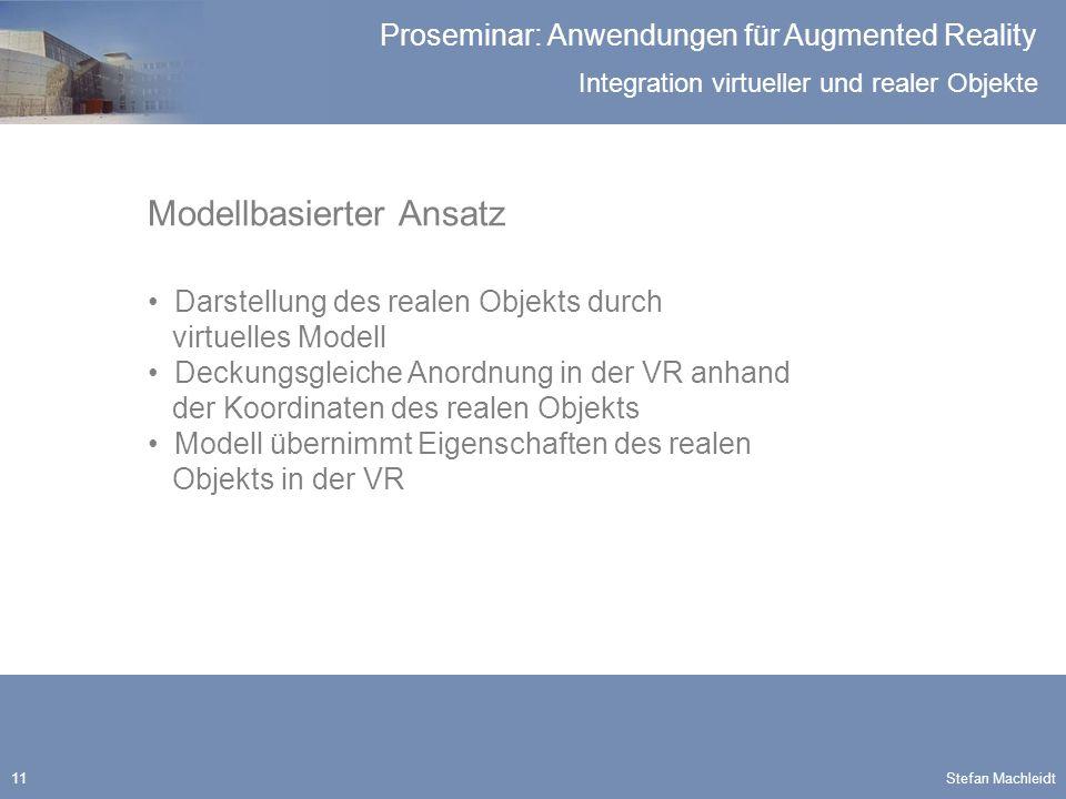 Integration virtueller und realer Objekte Proseminar: Anwendungen für Augmented Reality Stefan Machleidt11 Modellbasierter Ansatz Darstellung des realen Objekts durch virtuelles Modell Deckungsgleiche Anordnung in der VR anhand der Koordinaten des realen Objekts Modell übernimmt Eigenschaften des realen Objekts in der VR