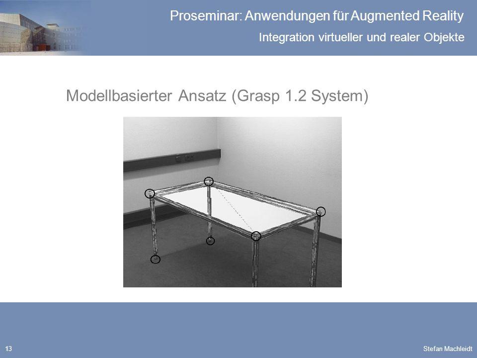 Integration virtueller und realer Objekte Proseminar: Anwendungen für Augmented Reality Stefan Machleidt13 Modellbasierter Ansatz (Grasp 1.2 System)