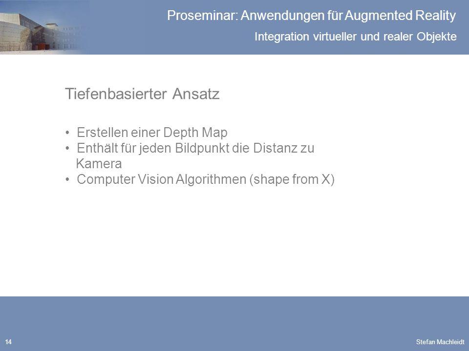 Integration virtueller und realer Objekte Proseminar: Anwendungen für Augmented Reality Stefan Machleidt14 Tiefenbasierter Ansatz Erstellen einer Depth Map Enthält für jeden Bildpunkt die Distanz zu Kamera Computer Vision Algorithmen (shape from X)