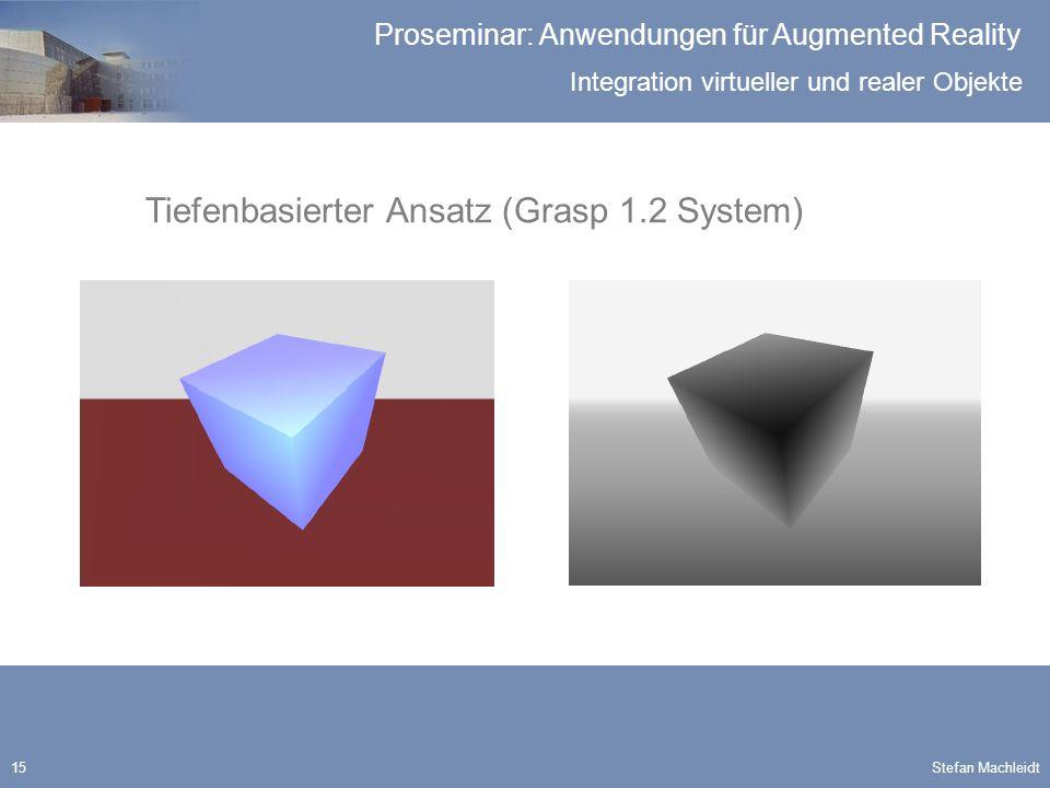 Integration virtueller und realer Objekte Proseminar: Anwendungen für Augmented Reality Stefan Machleidt15 Tiefenbasierter Ansatz (Grasp 1.2 System)