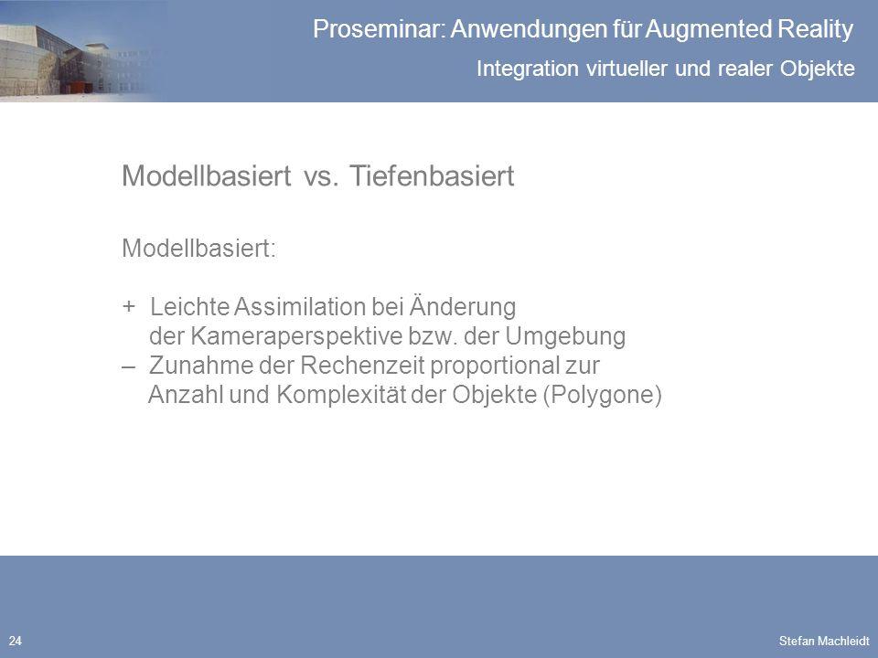 Integration virtueller und realer Objekte Proseminar: Anwendungen für Augmented Reality Stefan Machleidt24 Modellbasiert vs.