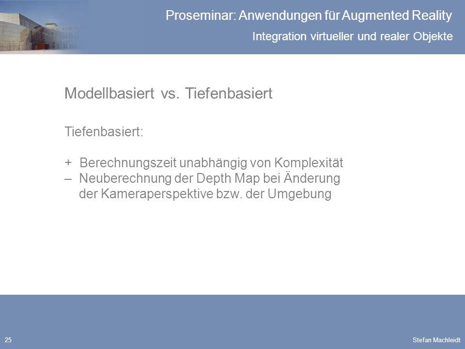 Integration virtueller und realer Objekte Proseminar: Anwendungen für Augmented Reality Stefan Machleidt25 Modellbasiert vs.