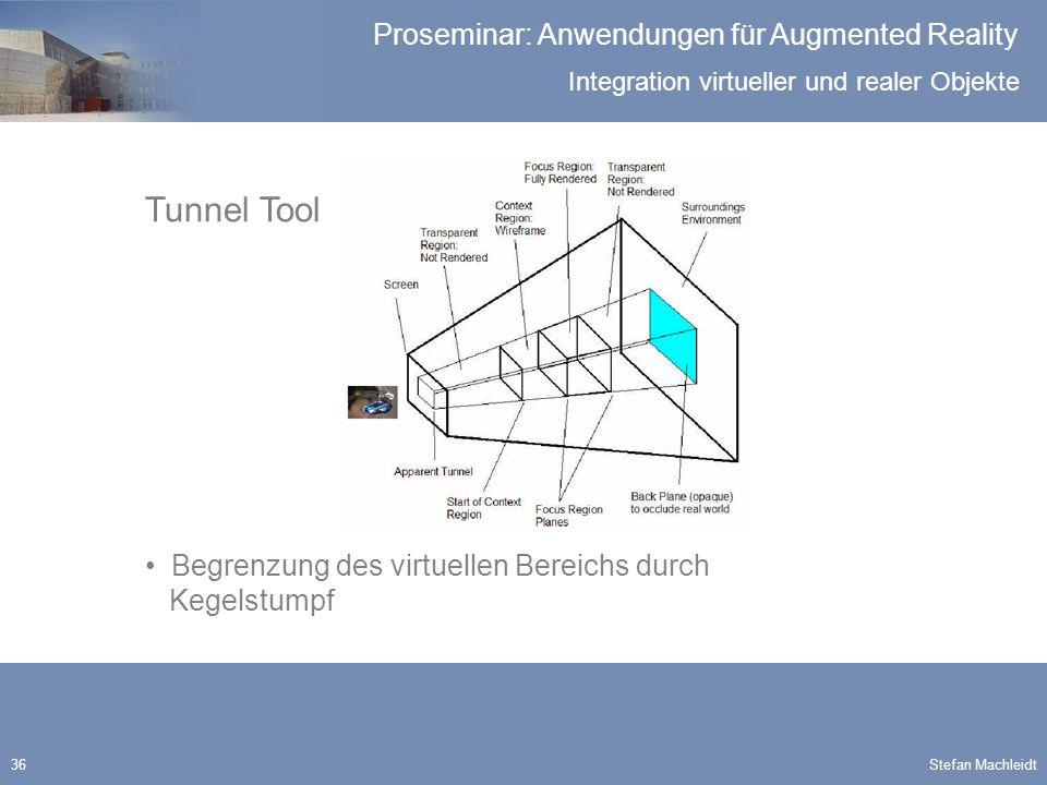 Integration virtueller und realer Objekte Proseminar: Anwendungen für Augmented Reality Stefan Machleidt36 Tunnel Tool Begrenzung des virtuellen Bereichs durch Kegelstumpf