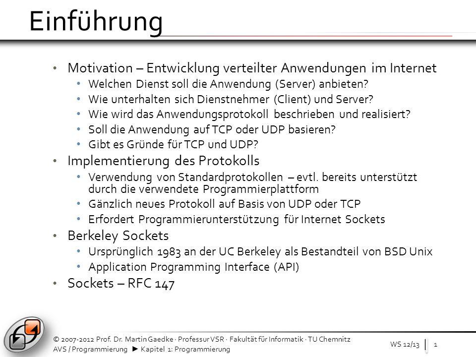 | AVS / Programmierung Kapitel 1: Programmierung Einführung: Socket – Server mit C WS 12/132 © 2007-2012 Prof.