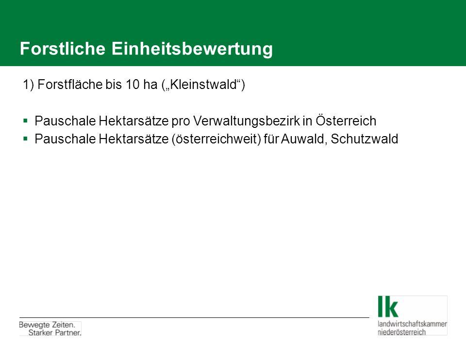 Forstliche Einheitsbewertung 1) Forstfläche bis 10 ha (Kleinstwald) Pauschale Hektarsätze pro Verwaltungsbezirk in Österreich Pauschale Hektarsätze (österreichweit) für Auwald, Schutzwald
