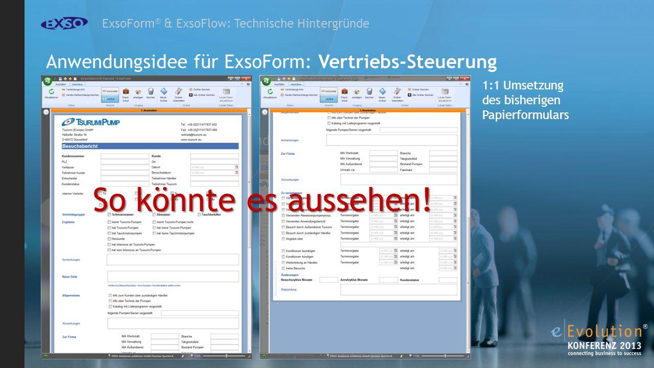 ExsoForm ® & ExsoFlow: Technische Hintergründe Anwendungsidee für ExsoForm: Vertriebs-Steuerung 1:1 Umsetzung des bisherigen Papierformulars So könnte es aussehen!