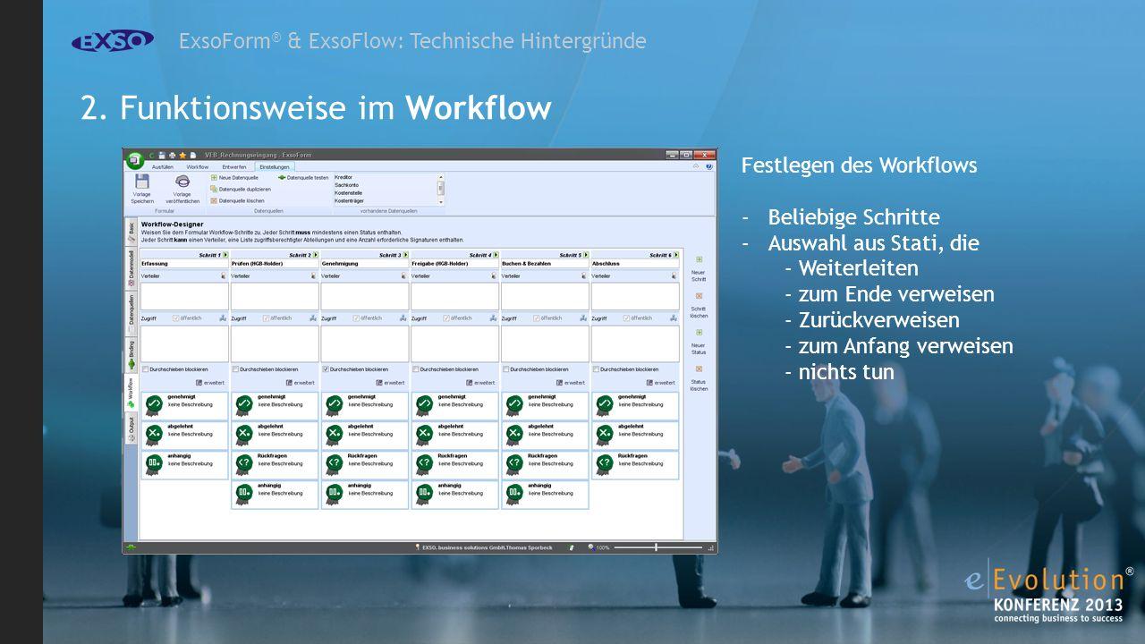 ExsoForm ® & ExsoFlow: Technische Hintergründe Festlegen des Workflows -Beliebige Schritte -Auswahl aus Stati, die - Weiterleiten - zum Ende verweisen - Zurückverweisen - zum Anfang verweisen - nichts tun 2.