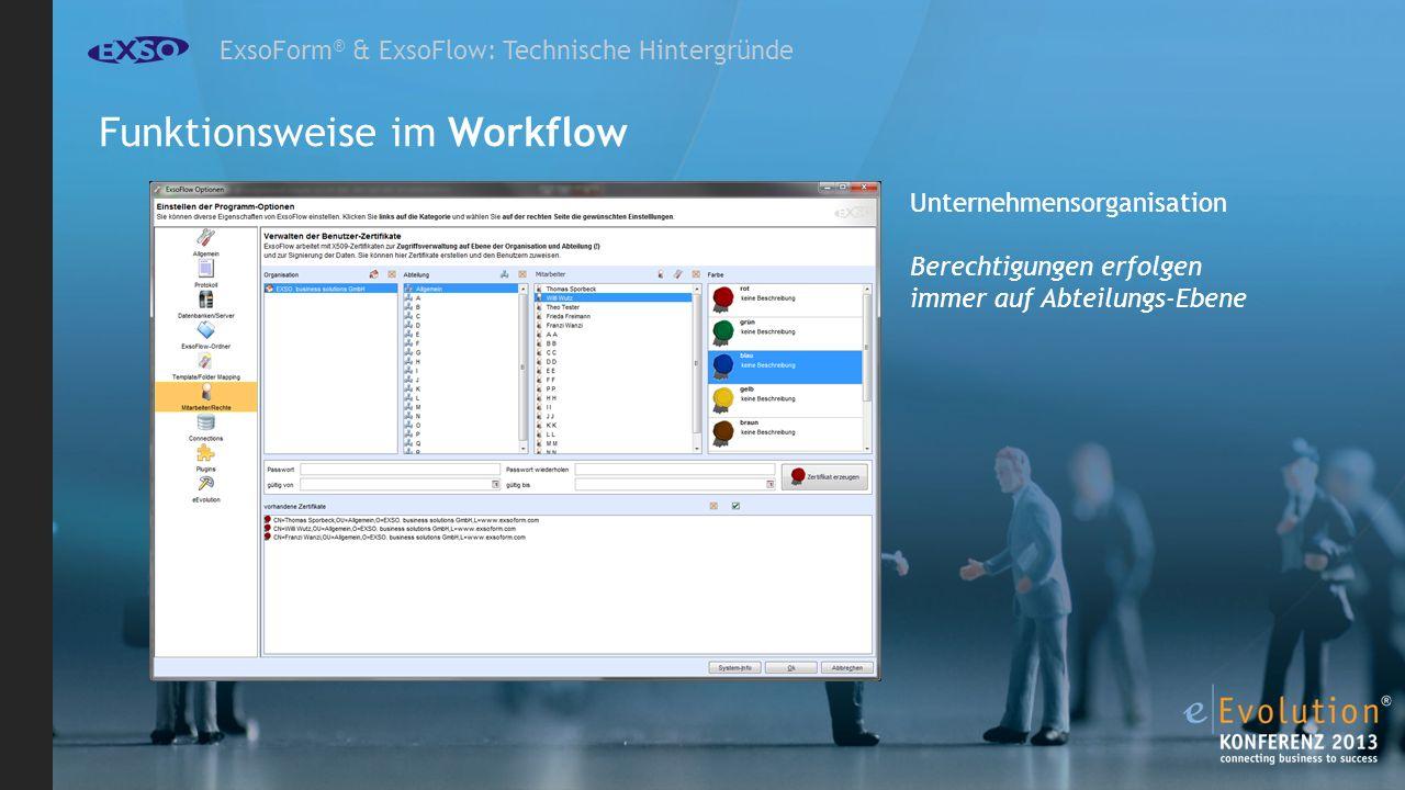 ExsoForm ® & ExsoFlow: Technische Hintergründe Unternehmensorganisation Berechtigungen erfolgen immer auf Abteilungs-Ebene Funktionsweise im Workflow