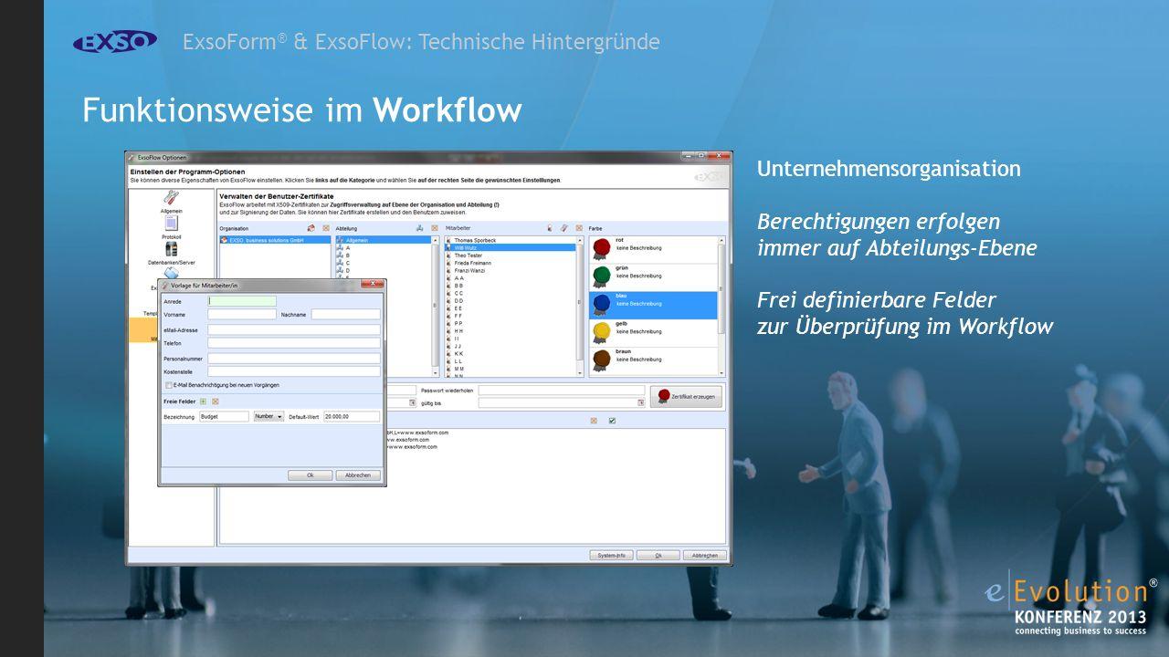ExsoForm ® & ExsoFlow: Technische Hintergründe Unternehmensorganisation Berechtigungen erfolgen immer auf Abteilungs-Ebene Frei definierbare Felder zur Überprüfung im Workflow Funktionsweise im Workflow