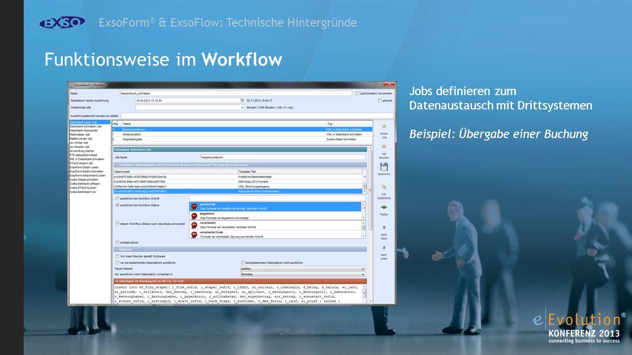 ExsoForm ® & ExsoFlow: Technische Hintergründe Jobs definieren zum Datenaustausch mit Drittsystemen Beispiel: Übergabe einer Buchung Funktionsweise im Workflow