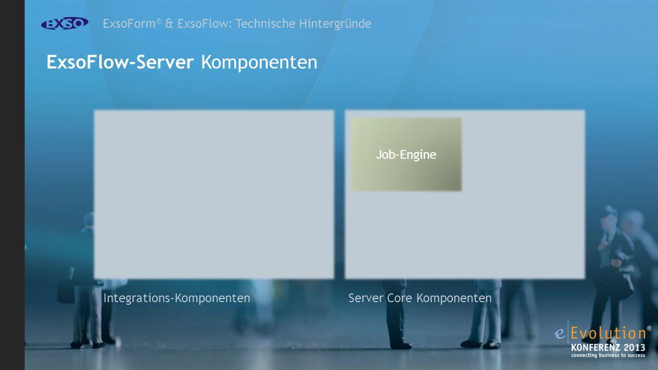 ExsoForm ® & ExsoFlow: Technische Hintergründe ExsoFlow-Server Komponenten Job-Engine Server Core Komponenten Integrations-Komponenten