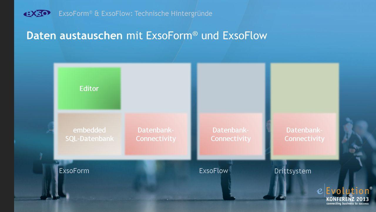 ExsoForm ® & ExsoFlow: Technische Hintergründe Daten austauschen mit ExsoForm ® und ExsoFlow ExsoFlow ExsoForm Editor embedded SQL-Datenbank Drittsystem Datenbank- Connectivity Datenbank- Connectivity Datenbank- Connectivity