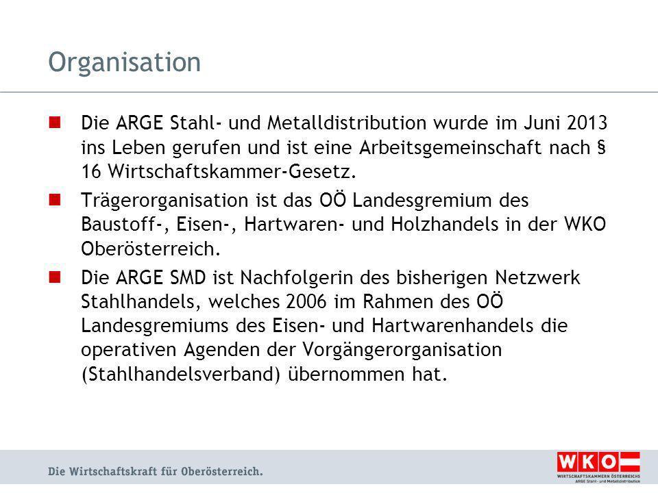 Organisation Die ARGE Stahl- und Metalldistribution wurde im Juni 2013 ins Leben gerufen und ist eine Arbeitsgemeinschaft nach § 16 Wirtschaftskammer-Gesetz.