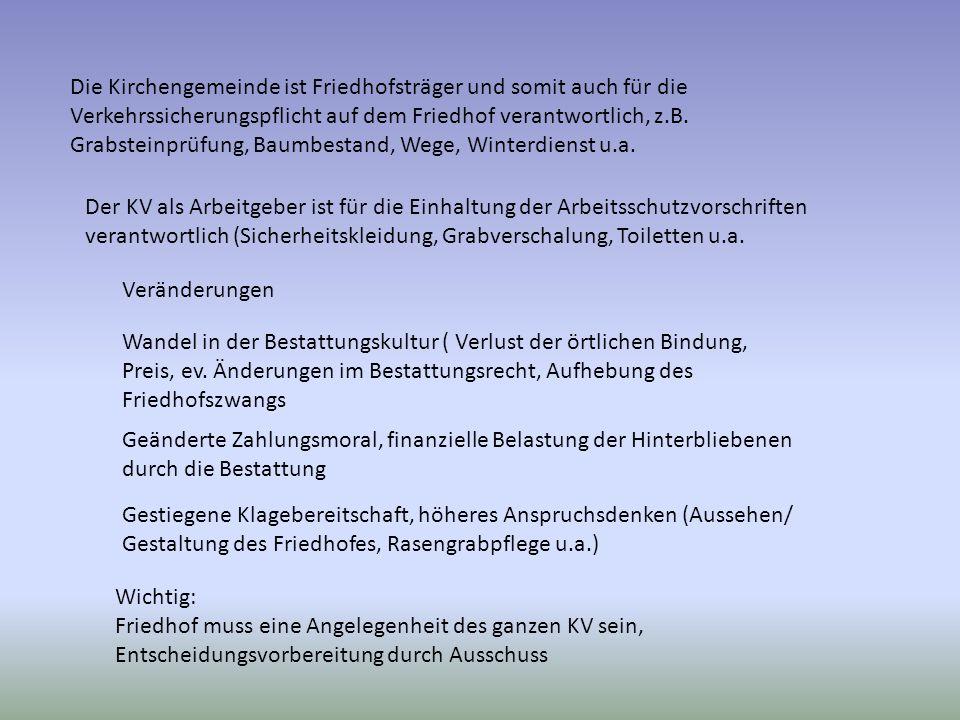 Die Kirchengemeinde ist Friedhofsträger und somit auch für die Verkehrssicherungspflicht auf dem Friedhof verantwortlich, z.B. Grabsteinprüfung, Baumb