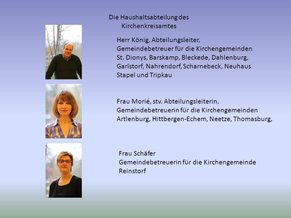 Die Haushaltsabteilung des Kirchenkreisamtes Herr König, Abteilungsleiter, Gemeindebetreuer für die Kirchengemeinden St.