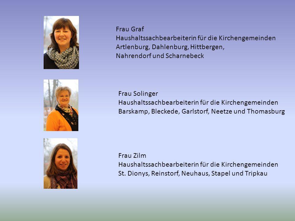 Frau Graf Haushaltssachbearbeiterin für die Kirchengemeinden Artlenburg, Dahlenburg, Hittbergen, Nahrendorf und Scharnebeck Frau Solinger Haushaltssac