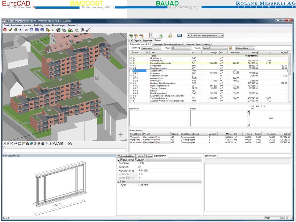 BIM2COST BAUAD Modellkostenermittlung Baukostenmanagement