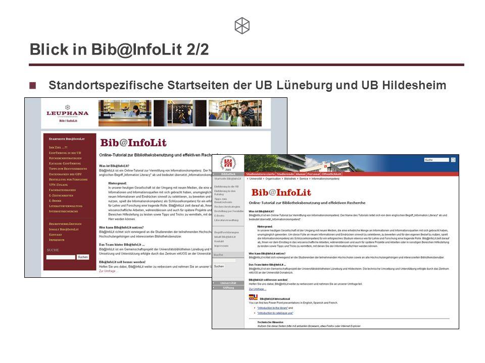 Blick in Bib@InfoLit 2/2 Standortspezifische Startseiten der UB Lüneburg und UB Hildesheim