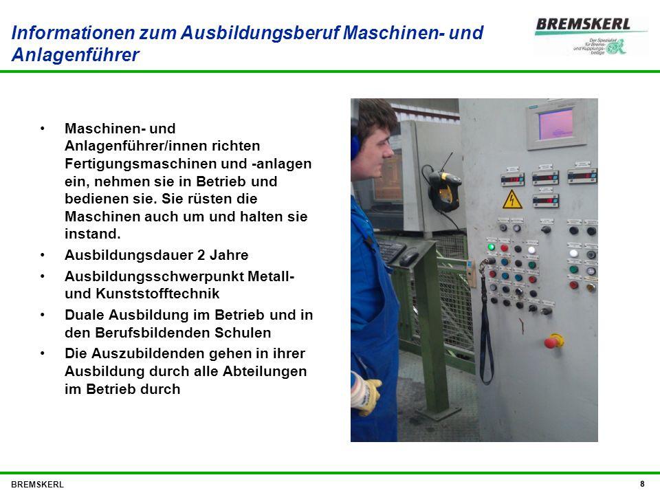 Informationen zum Ausbildungsberuf Maschinen- und Anlagenführer Maschinen- und Anlagenführer/innen richten Fertigungsmaschinen und -anlagen ein, nehme