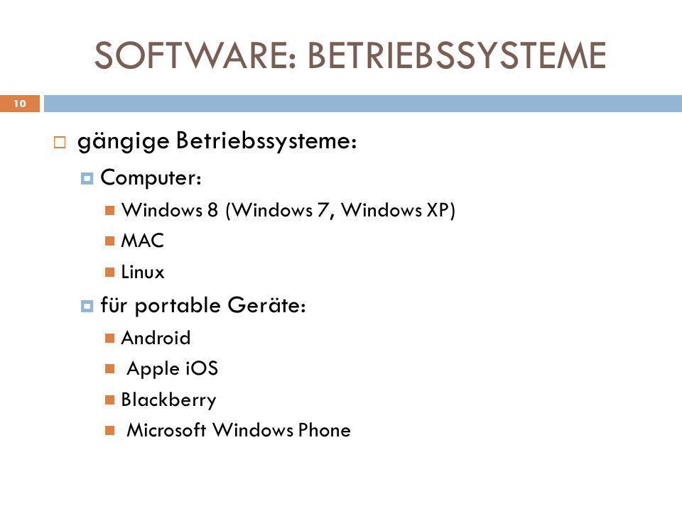 SOFTWARE: BETRIEBSSYSTEME gängige Betriebssysteme: Computer: Windows 8 (Windows 7, Windows XP) MAC Linux für portable Geräte: Android Apple iOS Blackb