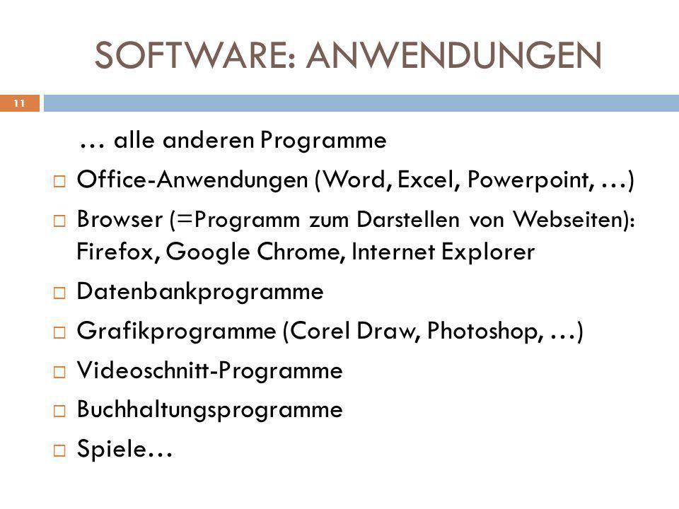 SOFTWARE: ANWENDUNGEN … alle anderen Programme Office-Anwendungen (Word, Excel, Powerpoint, …) Browser (=Programm zum Darstellen von Webseiten): Firef