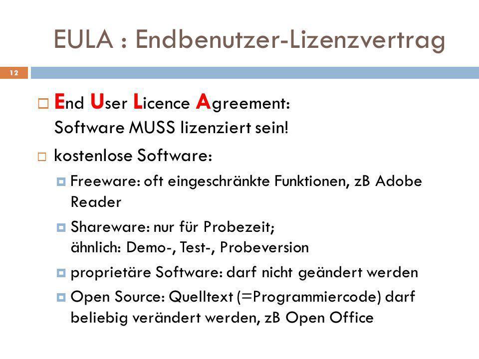EULA : Endbenutzer-Lizenzvertrag E nd U ser L icence A greement: Software MUSS lizenziert sein! kostenlose Software: Freeware: oft eingeschränkte Funk